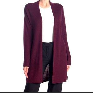 Tahari long open cardigan sweater plum XL NWT